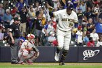Milwaukee Brewers' Avisail Garcia hits a two-run home run during the seventh inning of a baseball game against the Philadelphia Phillies Tuesday, Sept. 7, 2021, in Milwaukee. (AP Photo/Morry Gash)