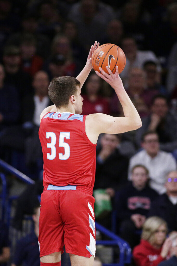 Loyola Marymount forward Ivan Alipiev shoots during the first half of the team's NCAA college basketball game against Gonzaga in Spokane, Wash., Thursday, Feb. 6, 2020. (AP Photo/Young Kwak)
