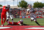 New Mexico State quarterback Josh Adkins (14) scores a touchdown during the first half of an NCAA college football game against New Mexico on Saturday, Sept. 21, 2019 in Albuquerque, N.M. (AP Photo/Andres Leighton)
