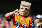 A Cincinnati Bengals fan reacts in the second half of an NFL football game against the Jacksonville Jaguars, Sunday, Oct. 20, 2019, in Cincinnati. (AP Photo/Gary Landers)