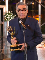 In this video grab captured on Sept. 20, 2020, courtesy of the Academy of Television Arts & Sciences and ABC Entertainment, Eugene Levy accepts the outstanding lead actor in a comedy series award for