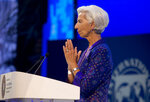 Managing Director of International Monetary Fund (IMF) Christine Lagarde delivers her speech during the opening of International Monetary Fund (IMF) World Bank annual meetings in Bali, Indonesia on Friday, Oct. 12, 2018. (AP Photo/Firdia Lisnawati)