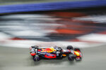 Red Bull Racing driver Max Verstappen of Netherlands steers his car during second practice at the Marina Bay City Circuit ahead of the Singapore Formula One Grand Prix in Singapore, Friday, Sept. 14, 2018. (AP Photo/Yong Teck Lim)