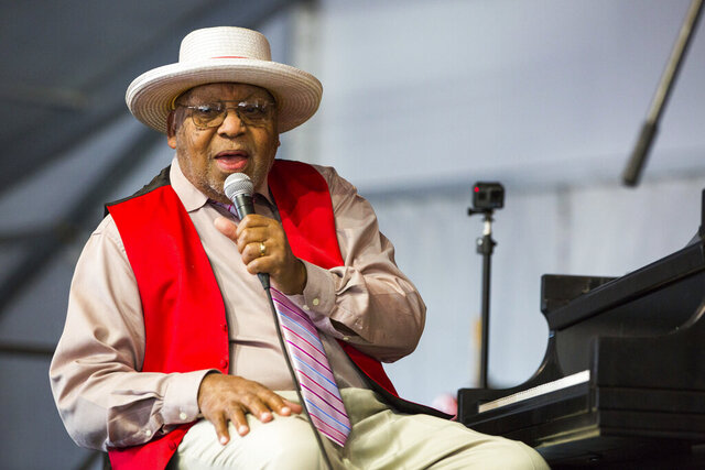CORRECTS MAYOR'S LAST NAME TO CANTRELL INSTEAD OF CAMPBELL - FILE - This April 28, 2019, file photo, shows Ellis Marsalis during the New Orleans Jazz & Heritage Festival in New Orleans. New Orleans Mayor LaToya Cantrell announced Wednesday, April 1, 2020, that Marsalis has died. He was 85. (AP Photo/Sophia Germer, File)