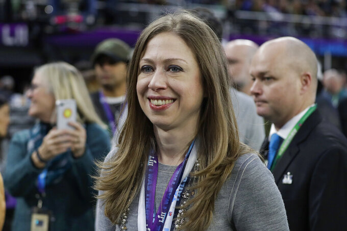 FILE - In this Feb. 4, 2018, file photo, Chelsea Clinton is seen before the NFL Super Bowl 52 football game between the Philadelphia Eagles and the New England Patriots in Minneapolis. Clinton tweeted Tuesday, Jan. 22, 2019, that she and her husband Marc Mezvinsky are expecting another child in the summer. (AP Photo/Matt Slocum, File)