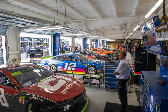 The newly redesigned garage area is viewed before the Drydene 400 - Monster Energy NASCAR Cup Series playoff auto race, Sunday, Oct. 6, 2019, at Dover International Speedway in Dover, Del. (AP Photo/Jason Minto)