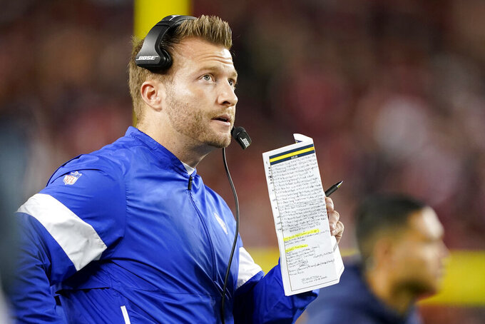 Los Angeles Rams coach Sean McVay watches during the first half of the team's NFL football game against the San Francisco 49ers in Santa Clara, Calif., Saturday, Dec. 21, 2019. (AP Photo/Tony Avelar)