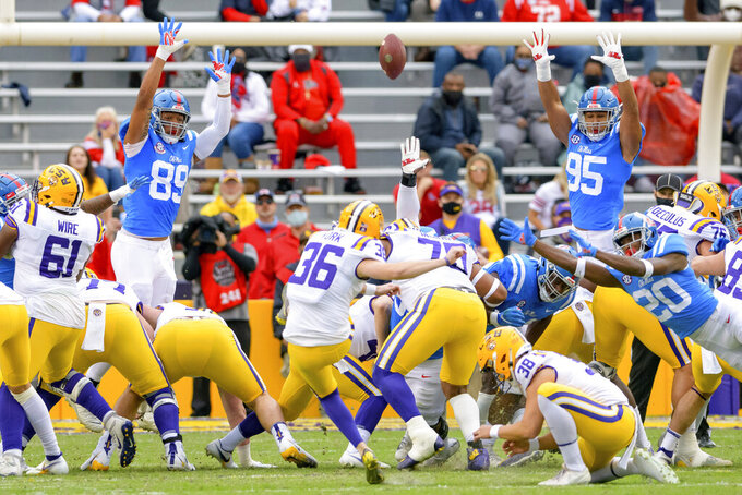 LSU place kicker Cade York (36) makes a field goal against Mississippi during the first half of an NCAA college football game in Baton Rouge, La., Saturday, Dec. 19, 2020. (AP Photo/Matthew Hinton)