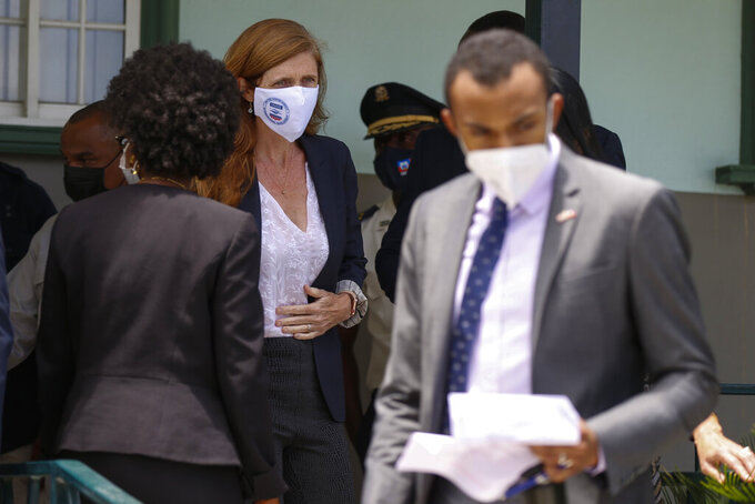 USAID Administrator Samantha Power arrives at the international Airport for a joint press conference with SOUTHCOM and Haitian Prime Minister Ariel Henry in Port-au-Prince, Haiti, Thursday, Aug. 26, 2021, two weeks after the 7.2 magnitude earthquake. (AP Photo/ Odelyn Joseph)