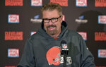 FILE - In this Dec. 9, 2018, file photo, Cleveland Browns head coach Gregg Williams answers questions during a news conference after his team defeated the Carolina Panthers in an NFL football game in Cleveland. Williams had his coaching interview with the Browns, who were impressed by him leading them to five wins this season. Williams went 5-3 as Cleveland's interim coach after taking over when Hue Jackson was fired on Oct. 29. The 60-year-old Williams is the first candidate interviewed by general manager John Dorsey. (AP Photo/David Richard, File)