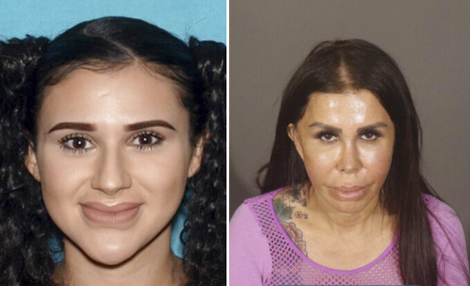 """These undated photos provided by the Los Angeles Police Department show Alicia Galaz, left, and her mother, Libby Adame, who have been arrested in Southern California on suspicion of performing """"outlaw"""" buttocks augmentation procedures on women, including one who died, police said Wednesday, Sept. 22, 2021. Adame and Galaz are accused of performing the """"inherently unsafe, FDA unapproved"""" cosmetic procedures at non-medical facilities, the Los Angeles Police Department said in a statement. (Los Angeles Police Department via AP)"""