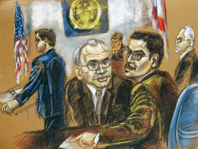FILE -This May 14, 2007 courtroom sketch shows Assistant U.S. Attorney Brian Frazier, left, and defendants Adham Amin Hassoun, second from left, Jose Padilla, center, and Kifah Wael Jayyousi, far right, on the opening day of their terrorism conspiracy trial in federal court in Miami. Hassoun, who was convicted of terrorism-related crimes, served his sentence and then was detained by U.S. Immigration and Customs Enforcement, has been deported after a legal battle to hold him indefinitely stalled. (Shirley Henderson via AP, File)