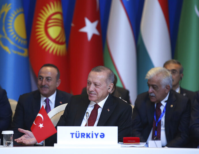 Turkey's President Recep Tayyip Erdogan attends the VII Summit of The Cooperation Council of Turkic Speaking States, in Baku, Azerbaijan, Tuesday. Oct. 15, 2019. (Presidential Press Service via AP, Pool)