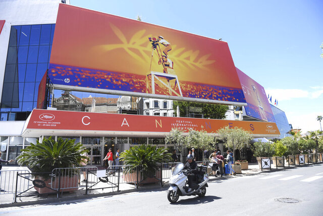 FILE - This May 13, 2019 file photo shows a view of the Palais des festivals during the 72nd international film festival, Cannes, southern France. Arguably the world's most prestigious film festival and cinema's largest annual gathering has postponed its 73rd edition. Organizers of the French Riviera festival, scheduled to take place May 12-23, said they are considering moving the festival to the end of June or the beginning of July. (Photo by Arthur Mola/Invision/AP, File)