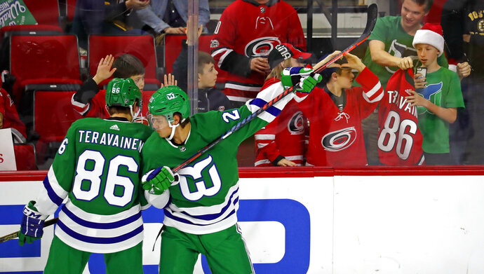 Carolina Hurricanes' Sebastian Aho (20) and Teuvo Teravainen (86) warmup in Hartford Whalers jerseys prior to their game with the Boston Bruins Sunday, Dec. 23, 2018, in Raleigh, N.C. (AP Photo/Karl B DeBlaker)