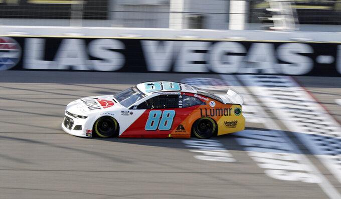 Alex Bowman drives during a NASCAR Cup Series auto race Sunday, Sept. 27, 2020, in Las Vegas. (AP Photo/Isaac Brekken)