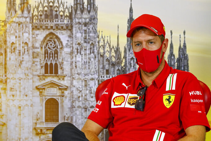 Ferrari driver Sebastian Vettel of Germany attends a press conference ahead of Sunday's Italian Formula One Grand Prix, at the Monza racetrack in Monza, Italy, Thursday, Sept. 3 , 2020. (Mark Sutton, Pool via AP)
