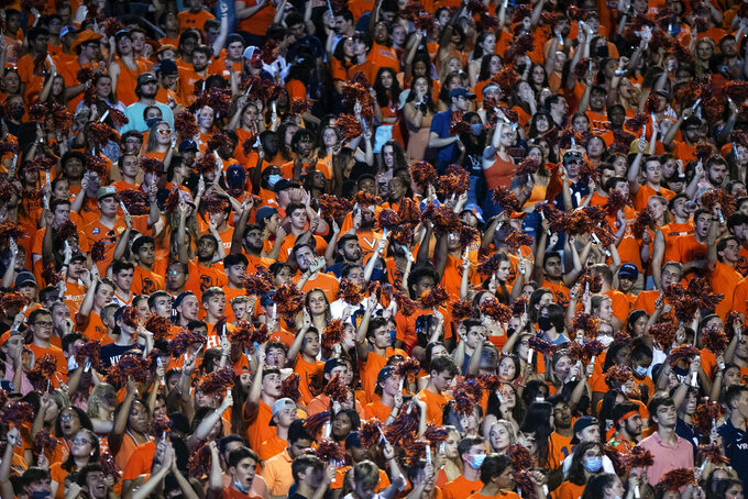 Virginia fans pack the student section during an NCAA college football game against William & Mary, Saturday, Sept. 4, 2021, in Charlottesville, Va. (Erin Edgerton/The Daily Progress via AP)