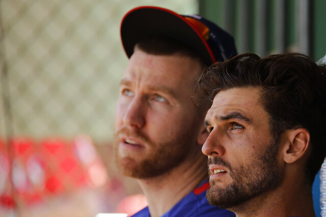 Texas Rangers' Todd Frazier, left, and Greg Bird watch batting practice from the dugout during spring training baseball practice Monday, Feb. 17, 2020, in Surprise, Ariz. (AP Photo/Charlie Riedel)