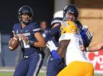 Utah State quarterback Jordan Love (10) looks for a receiver during an NCAA football game against San Jose State on Saturday, Nov. 10, 2018, in Logan, Utah. (Eli Lucero/The Herald Journal via AP)