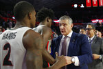 South Carolina coach  Frank Martin speaks with Georgia's Jordan Harris (2) and another player after an NCAA college basketball game Wednesday, Feb. 12, 2020, in Athens, Ga. (Joshua L. Jones/Athens Banner-Herald via AP)