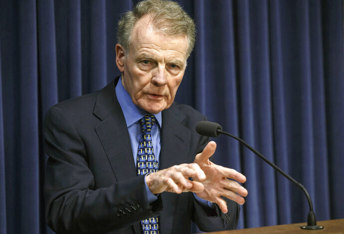 FILE - In this July 26, 2017, file photo, Illinois House Speaker Michael Madigan, D-Chicago, speaks at a news conference at the Capitol in Springfield, Ill. Madigan on Tuesday released a report by former state executive inspector general Maggie Hickey where she found that Madigan ex-chief of staff Timothy Mapes' power was too centralized for appropriate communication. Madigan says he takes