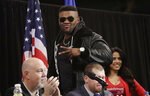 Boxer Jarrell Miller arrives for a news conference Tuesday, Feb. 19, 2019, in New York, to promote his upcoming fight against British boxer Anthony Joshua. (AP Photo/Frank Franklin II)
