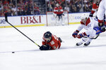 Florida Panthers center Aleksander Barkov (16) falls to the ice as Montreal Canadiens left wing Artturi Lehkonen (62) pursues during the first period of an NHL hockey game, Sunday, Dec. 29, 2019, in Sunrise, Fla. (AP Photo/Lynne Sladky)