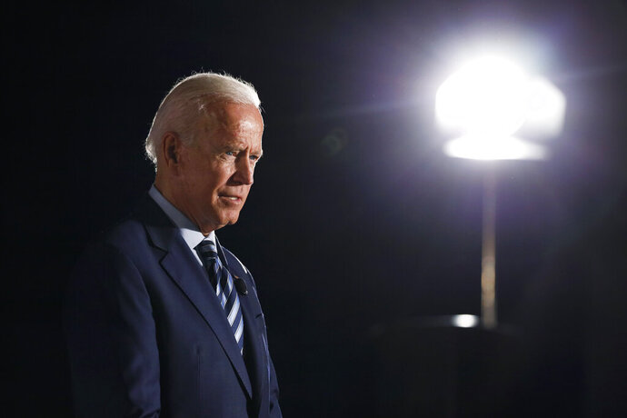 Former Vice President and Democratic presidential candidate Joe Biden speaks during a presidential candidates forum sponsored by AARP and The Des Moines Register, Monday, July 15, 2019, in Des Moines, Iowa. (AP Photo/Charlie Neibergall)