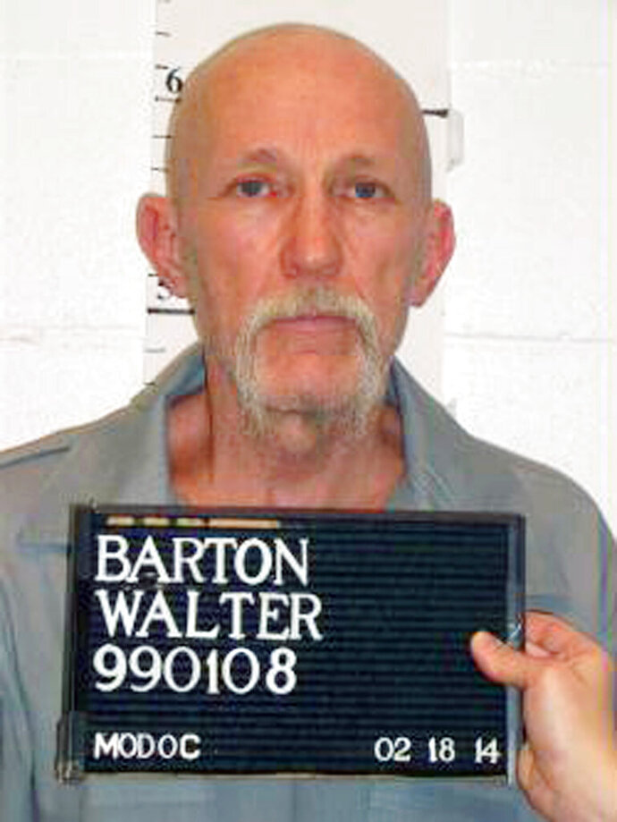 FILE - This Feb. 18, 2014, file photo, released by Missouri Department of Corrections, shows death row inmate Walter Barton. The Missouri Supreme Court announced on Tuesday, Feb. 18, 2020, that it has set an execution date for Barton who was convicted of killing 81-year-old Gladys Kuehler in the rural Missouri town of Ozark in 1991. Barton would be the first Missouri inmate executed since Russell Bucklew was put to death in October. (Missouri Department of Corrections via AP, File)