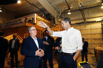Former Texas congressman and Democratic presidential candidate Beto O'Rourke is given a tour of the Michigan Regional Council of Carpenters by president Tom Lutz, left, Monday, March 18, 2019 in Ferndale, Mich. (AP Photo/Carlos Osorio)