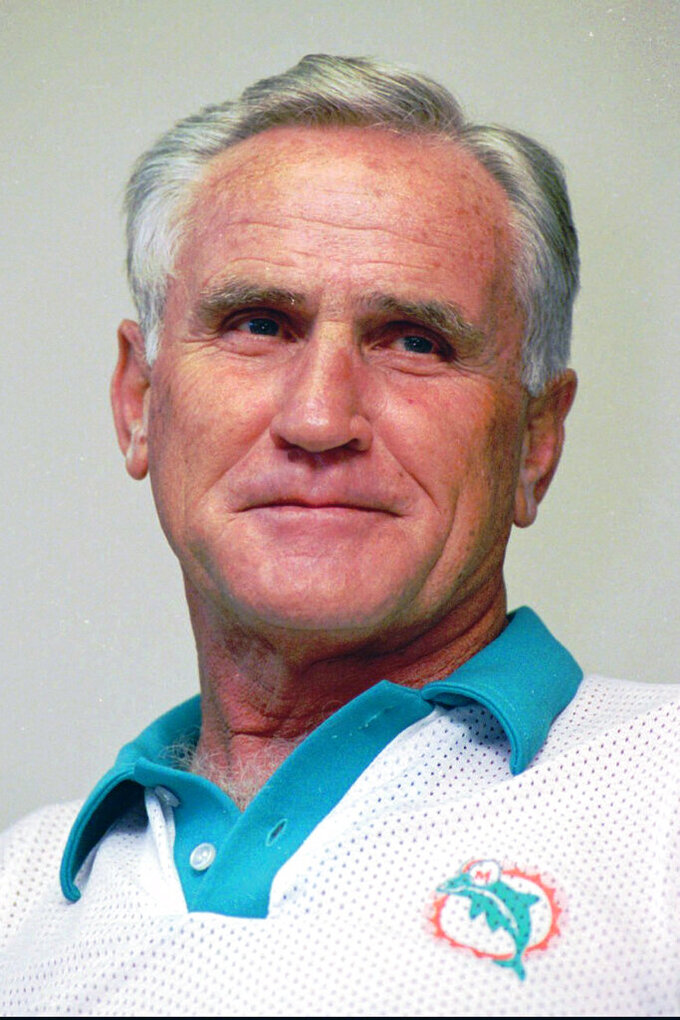 FILE - This is a Nov. 15, 1993, file photo showing Miami Dolphins' Don Shula. Shula, who won the most games of any NFL coach and led the Miami Dolphins to the only perfect season in league history, died Monday, May 4, 2020, at his South Florida home, the team said. He was 90. (AP Photo/Marta Lavandier, File)