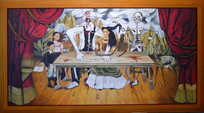 This Feb 2010 photo provided by the Kunstmuseum Gehrke-Remund shows a licensed replica of the missing, original painting by Mexican artist Frida Kahlo, titled