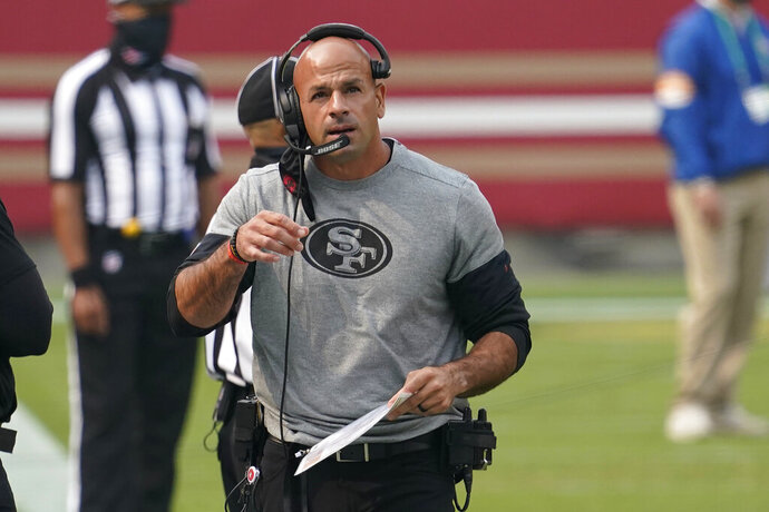 FILE - San Francisco 49ers defensive coordinator Robert Saleh is shown during an NFL football game against Arizona Cardinals, in Santa Clara, Calif., in this Sept. 13, 2020, file photo. The search for a new coach continues for the New York Jets after they completed an in-person interview with San Francisco 49ers defensive coordinator Robert Saleh on Wednesday, Jan. 13, 2021, without apparently reaching a deal.(AP Photo/Tony Avelar, File)