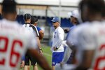 New York Giants' offensive coordinator Mike Shula watches drills at the NFL football team's training camp Thursday, Aug. 1, 2019, in East Rutherford, N.J. (AP Photo/Frank Franklin II)