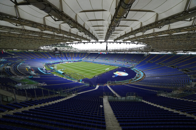A view of the stadium prior to an Italian national team training session ahead of Friday's Euro 2020, group A soccer match against Turkey, at the Rome Olympic stadium, Thursday, June 10, 2021. (AP Photo/Andrew Medichini, Pool)