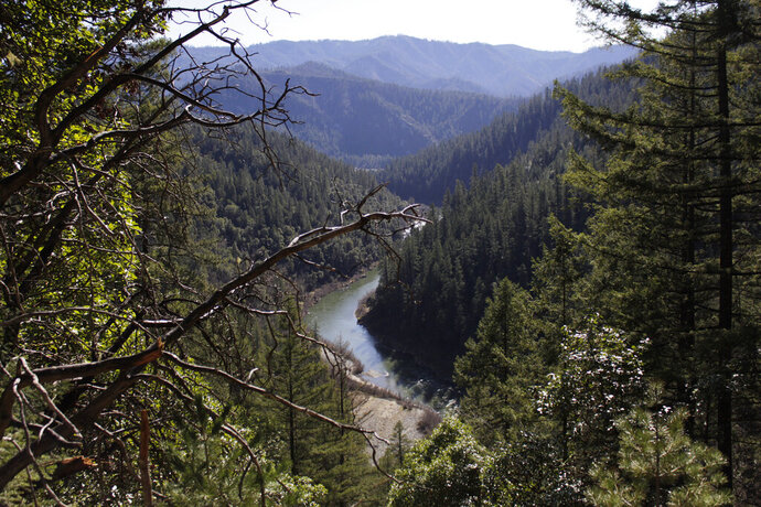 FILE - This March 3, 2020, file photo shows the Klamath River from atop Cade Mountain in the Klamath National Forest, Calif., in Humboldt County. The county was among the first in the state to get the governor's green light to open up restaurants and stores after a two-month statewide lockdown. (AP Photo/Gillian Flaccus, File)