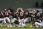 Virginia Tech's Brian Johnson (93) kicks a 55-yard field goal against Clemson during the second quarter of an NCAA college football game Saturday, Dec. 5, 2020, in Blacksburg, Va. (Matt Gentry/The Roanoke Times via AP, Pool)