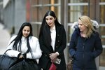 Emma Coronel Aispuro, center, leaves Brooklyn federal court, Thursday, Jan. 17, 2019 in New York, after attending the trial of her husband Joaquin