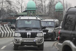 A convoy of New Delhi-based diplomats passes through Srinagar, Indian controlled Kashmir, Thursday, Jan. 9, 2020. Envoys from 15 countries including the United States are visiting Indian-controlled Kashmir starting Thursday for two days, the first by New Delhi-based diplomats since India stripped the region of its semi-autonomous status and imposed a harsh crackdown in early August. (AP Photo/Mukhtar Khan)