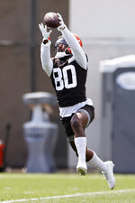 Cleveland Browns wide receiver Jarvis Landry catches a pass during practice at the NFL football team's training facility Friday, Aug. 14, 2020, in Berea, Ohio. (AP Photo/Ron Schwane)