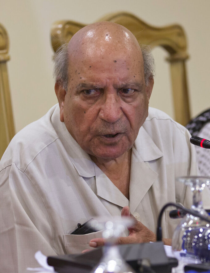 FILE - In this July 16, 2018, file photo, I.A. Rehman, a founding member of the independent Human Rights Commission of Pakistan (HRCP) addresses a news conference, in Islamabad, Pakistan. An iconic Pakistani human rights defender and journalist Rehman has died in the eastern city of Lahore, Monday, April 12, 2021, after a brief illness, his family and friends said. Rehman was about 90 and he spent the whole of his life defending human rights, opposing military dictators, fighting for the rule of law and democracy. (AP Photo/B.K. Bangash, File)
