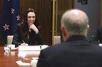 New Zealand's Prime Minister Jacinda Ardern, left, begins bilateral talks with Australian Prime Minister Scott Morrison, in Melbourne, Australia, Friday, July 19, 2019. (Julian Smith/Pool Photo via AP)