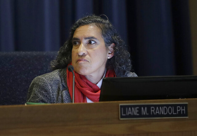 FILE - In this Jan. 28, 2019, file photo, California Public Utilities Commissioner Liane M. Randolph listens during a meeting in San Francisco. California Gov. Gavin Newsom appointed Randolph as the new Chair of the California Air Resources Board on Wednesday, Dec. 9, 2020. (AP Photo/Jeff Chiu, File)
