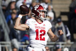 Indiana quarterback Peyton Ramsey (12) passes in the first quarter of an NCAA college football game against Penn State in State College, Pa., on Saturday, Nov. 16, 2019. (AP Photo/Barry Reeger)