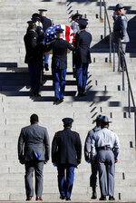 The casket carrying former U.S. Sen. Ernest