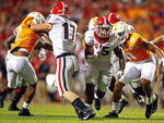 Georgia running back Brian Herrien (35) runs for yardage in the second half of an NCAA college football game against Tennessee, Saturday, Oct. 5, 2019, in Knoxville, Tenn. (AP Photo/Wade Payne)