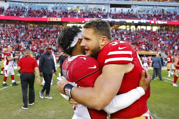 Arizona Cardinals quarterback Kyler Murray, left, greets San Francisco 49ers defensive end Nick Bosa after an NFL football game in Santa Clara, Calif., Sunday, Nov. 17, 2019. (AP Photo/John Hefti)