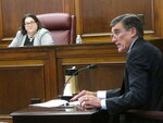 Gary Carano, chairman and CEO of Eldorado Resorts, testifies Sept. 12, 2018 before the New Jersey Casino Control Commission in Atlantic City, N.J. about the company's plans for the Tropicana casino in Atlantic City, which it is in the process of buying. (AP Photo/Wayne Parry)
