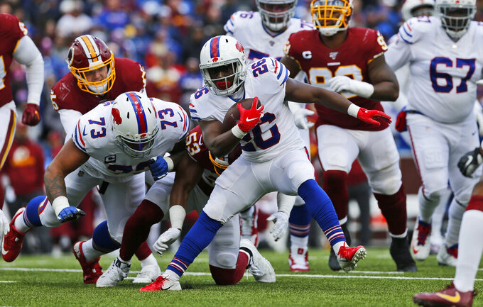 Buffalo Bills running back Devin Singletary (26) rushes during the first half of an NFL football game against the Washington Redskins, Sunday, Nov. 3, 2019, in Orchard Park, N.Y. (AP Photo/John Munson)